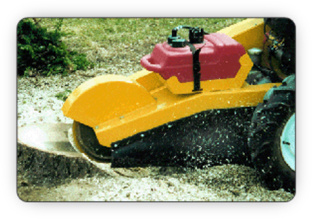 Removing the stump with a heavy-duty, specialized stump grinding machine - Ottawa Fallowfield Tree Farm stump grinding services - 613-720-3451