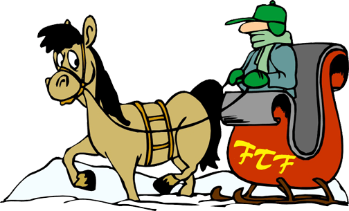 "Cartoon of a tan horse pulling reddish-colored sleigh with driver, and the intitals ""FTF"" on the side (for Fallowfield Tree Farm)"